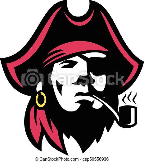 Buccaneer fumando pipa retro - csp50556936