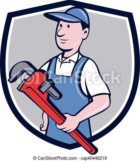 Caricatura de la llave inglesa Handyman - csp40446219