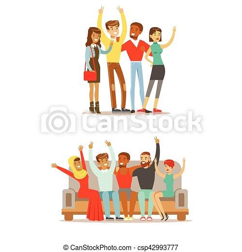 Tudent amigos de todo el mundo y feliz vector internacional de amistad ilustración de dibujos animados - csp42993777