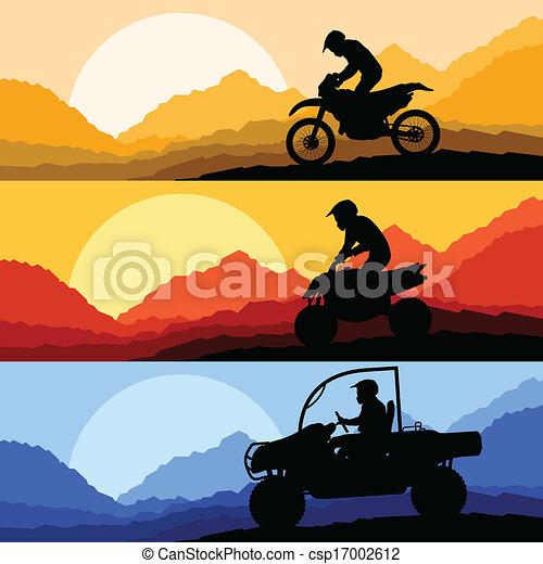 tudo, buggy, terreno, duna, motocicletas, quad, veículo, illust, cavaleiros - csp17002612
