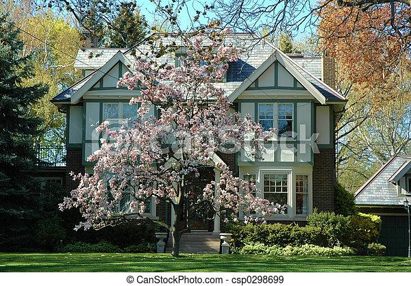 Tudor House Tudor Style House Home With Pretty Magnolia Tree In