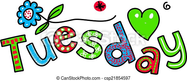 tuesday cartoon text hand drawn and colored whimsical stock rh canstockphoto com happy fat tuesday clipart happy tuesday funny clipart