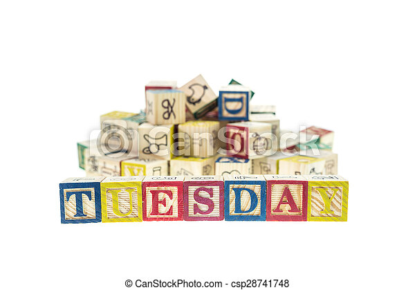Tuesday written in letter colorful alphabet blocks isolated on white - csp28741748
