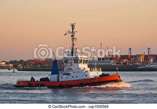 Tug at sunset - csp1500569