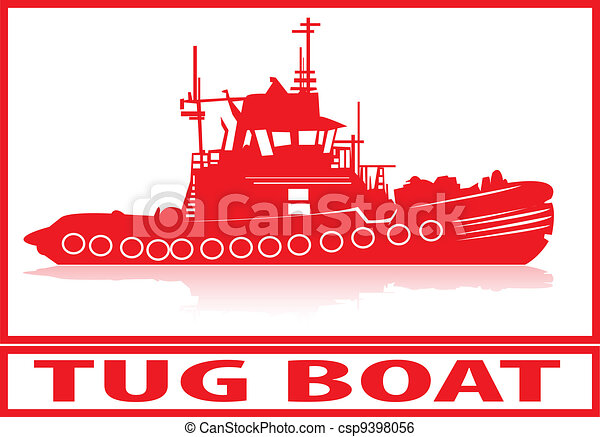 tug boat tug boat in red silhouette rh canstockphoto com Small Tugboat Tugboat Graphics