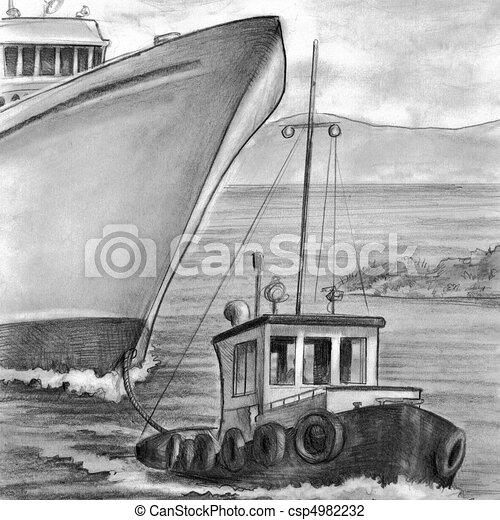 Tug Boat Towing Cruise Ship - csp4982232
