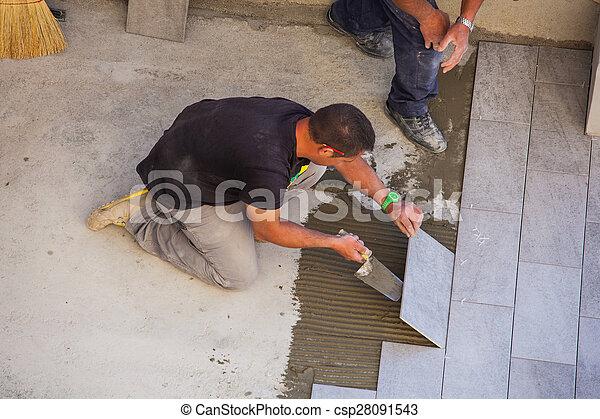 Tuiles, céramique, ouvrier, installation, plancher. Tuiles, 22 ...