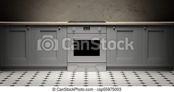Tuiles Cabinets Eletric Céramique Plancher Illustration Four Devant Vue Cuisine 3d