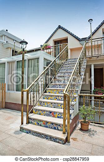 Tuiles Maison C Ramique Arri Re Cour Entr E Escalier