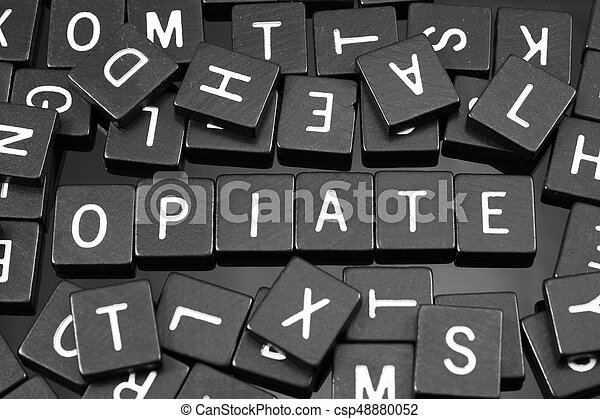"tuiles, mot, ""opiate"", noir, lettre, orthographe - csp48880052"