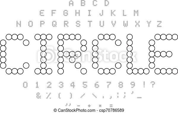 tuiles, police, alphabet., pointillé, simple, puzzle, blanc, lettres, forme., symboles, noir, contours, cercle, concept., set., mosaïque, nombres - csp70786589