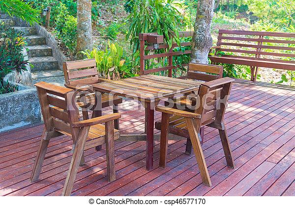 Houten Stoel Tuin.Tuin Set Vakantiepark Houten Restaurant Het Dineren Terras