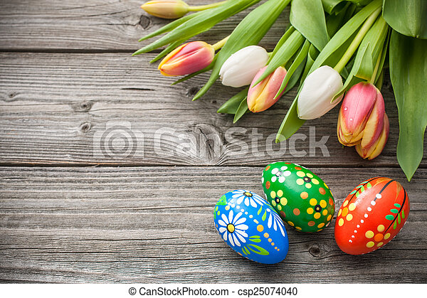 tulipánok, ikra, friss, húsvét, eredet - csp25074040