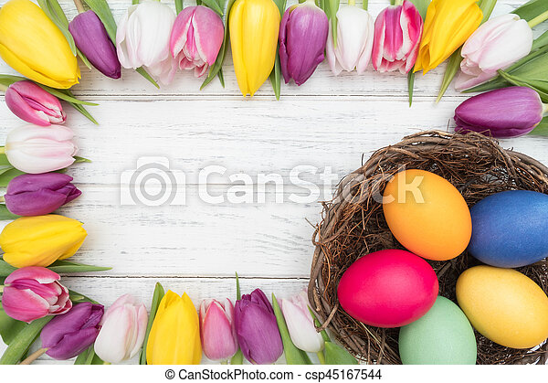 tulipánok, ikra, húsvét - csp45167544
