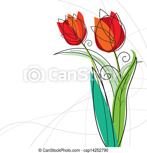 Tulip design on white background - csp14252790