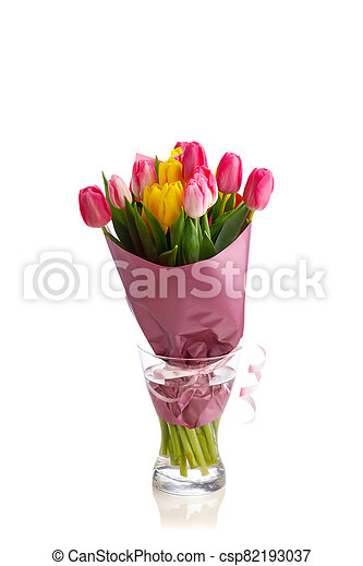 tulip flowers bouquet in a glass vase, isolated on white - csp82193037