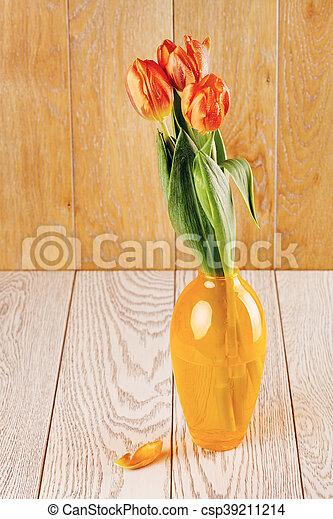 Tulip Flowers Bouquet In Vase - csp39211214
