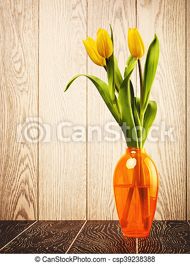 Tulip Flowers Bouquet In Vase - csp39238388