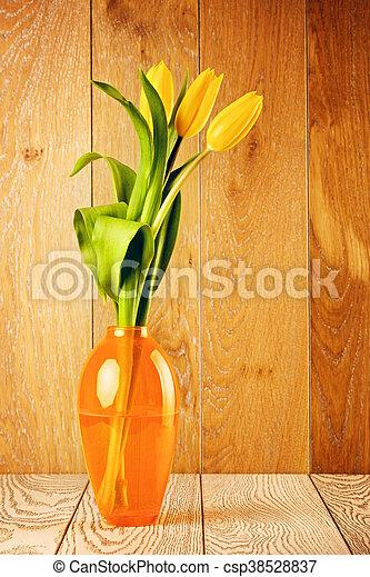 Tulip Flowers Bouquet In Vase - csp38528837