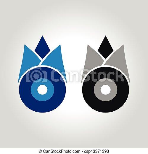 tulipa, olho, mal, logotipo - csp43371393