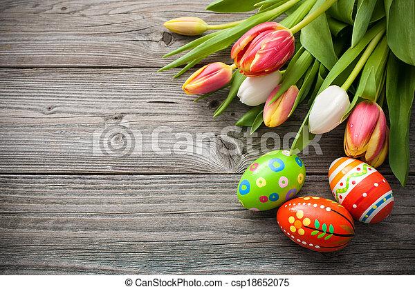 tulipany, jaja, wielkanoc - csp18652075