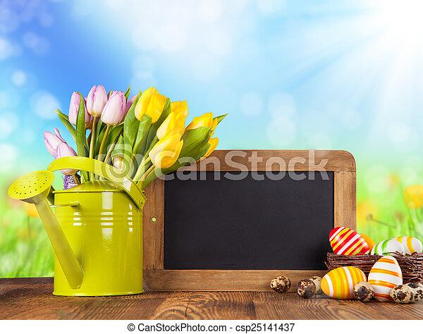 tulipes, bois, coloré - csp25141437