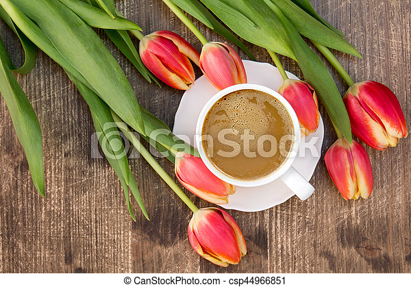 Tulips and cup of coffee - csp44966851