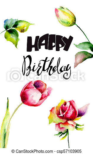 Tulips And Rose Flowers With Title Happy Birthday