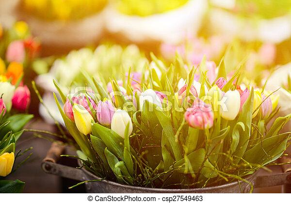 Tulips at flower market - csp27549463