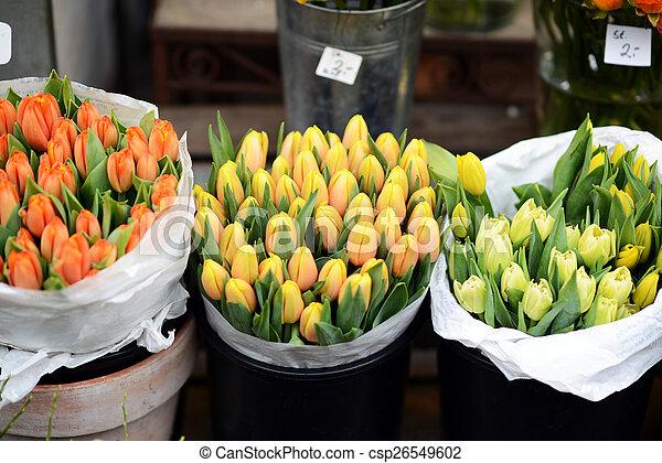 Tulips at flower market - csp26549602