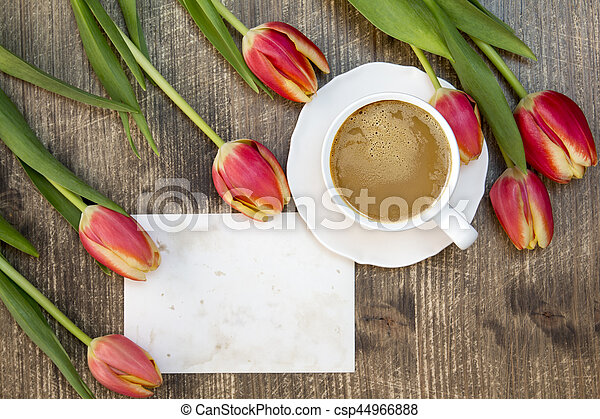 Tulips ,coffee cup and blank card - csp44966888