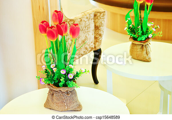 Tulips in a vase - csp15648589