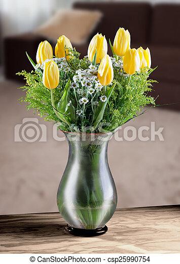 tulips in a vase - csp25990754