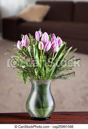 tulips in a vase - csp25991046