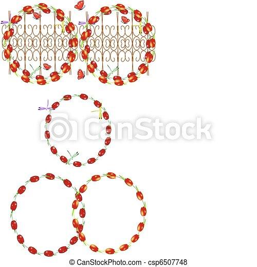 tulips on white in circle - csp6507748