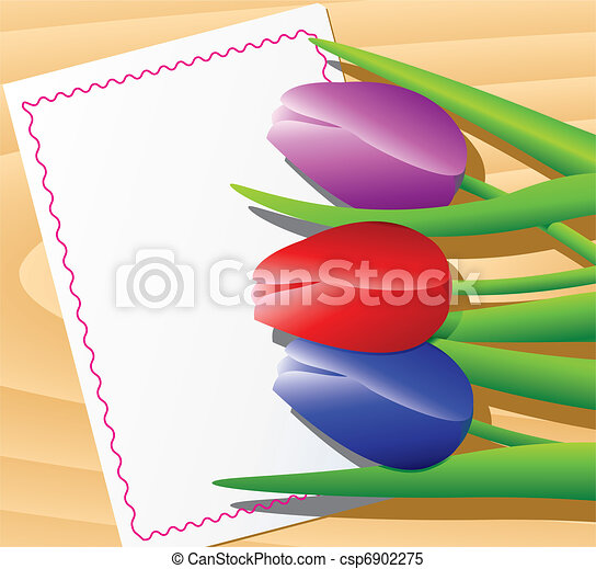 tulips on white sheet of paper - csp6902275