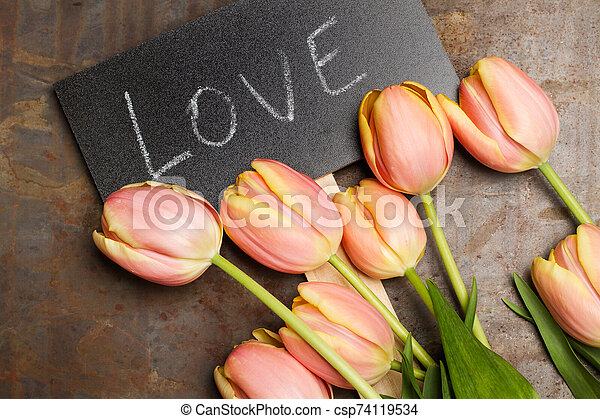 Tulips with a sign with the word love - csp74119534