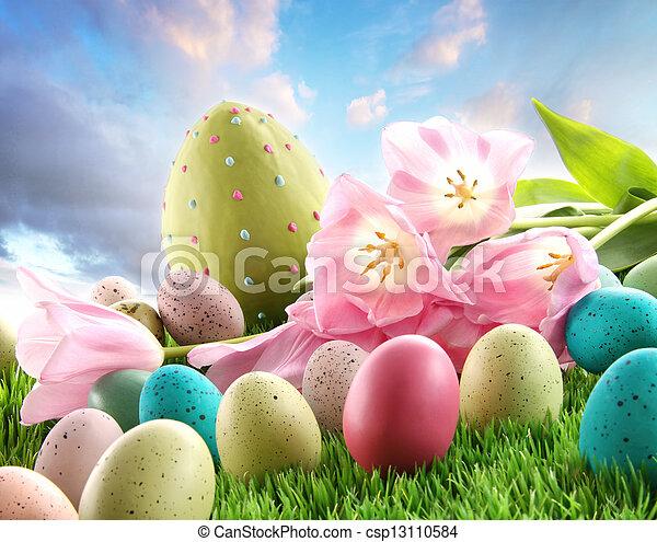 tulpen, eier, gras, ostern - csp13110584