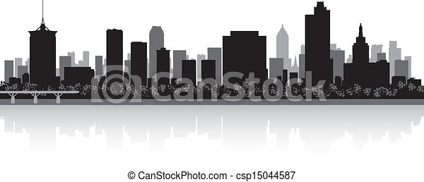 Tulsa city skyline silhouette - csp15044587