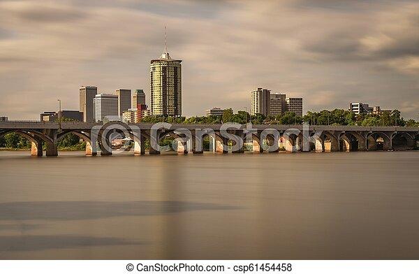 Tulsa Skyline and Arkansas River - csp61454458