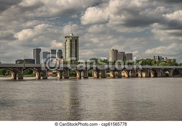 Tulsa Skyline with Arkansas river - csp61565778