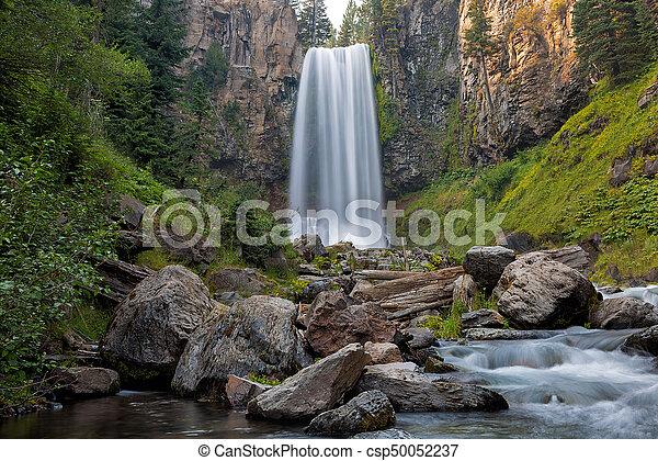 Tumalo Falls Closeup - csp50052237