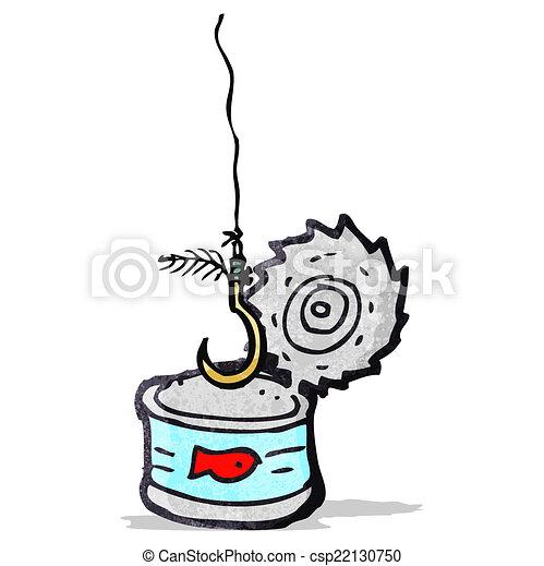 tuna can and fish hook cartoon - csp22130750