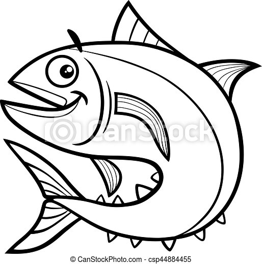 tuna fish coloring page black and white cartoon clipart vector rh canstockphoto com coloring clip art free coloring clip art pictures
