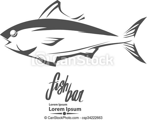 tuna logo fish - csp34222663