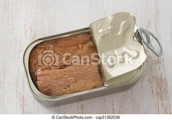tuna on white wooden background - csp31362036