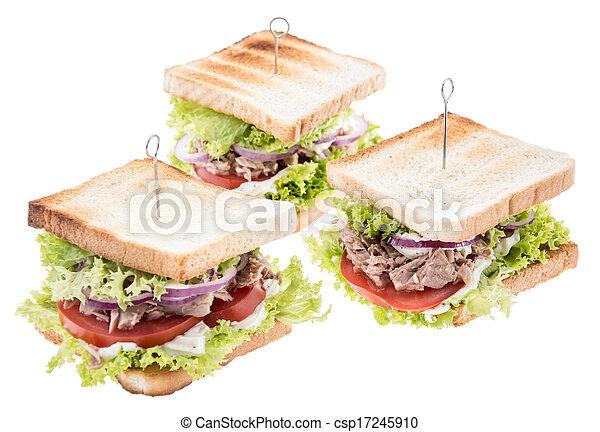 Tuna Sandwiches isolated on white - csp17245910