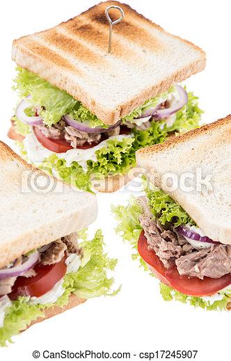 Tuna Sandwiches isolated on white - csp17245907