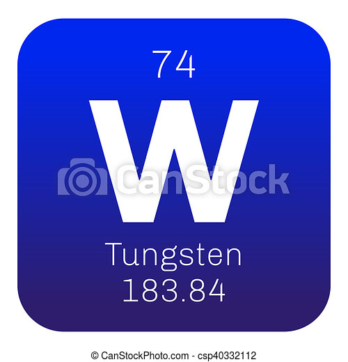 Tungsten chemical element also known as wolfram colored icon with tungsten chemical element also known as wolfram colored icon with atomic number and atomic weight chemical element of periodic table urtaz Image collections