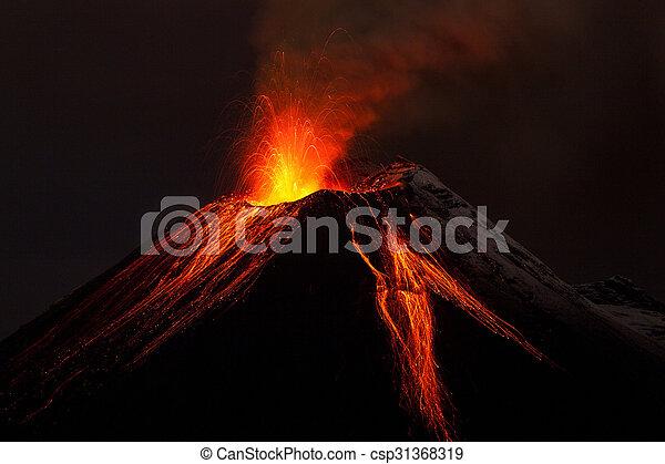 Tungurahua Volcano Night Eruption - csp31368319